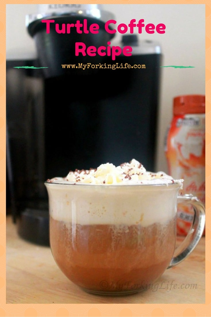 Delicious and easy coffee recipe. Turtle coffee is a unique spin on your coffee. Enjoy this treat with breakfast or have coffee for dessert. #coffee www.myforkinglife.com