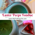 Peeps Easter Fondue. Have fun this is Easter with Peeps candy and white chocolate