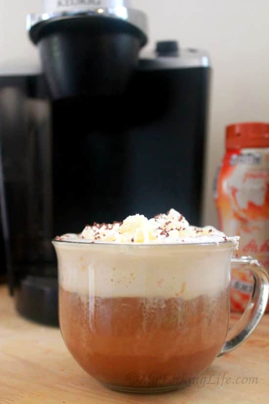 Delicious and easy coffee recipe. Turtle coffee is a unique spin on your coffee. Enjoy this treat with breakfast or have coffee for dessert. #coffee
