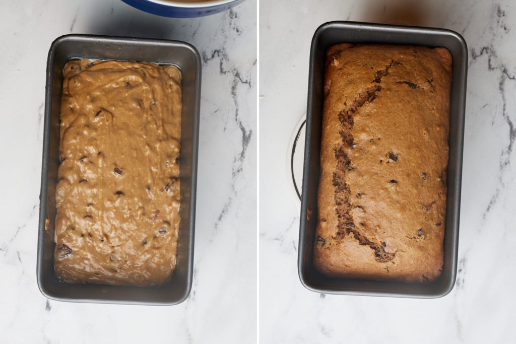 collage of batter in loaf pan unbaked and then baked