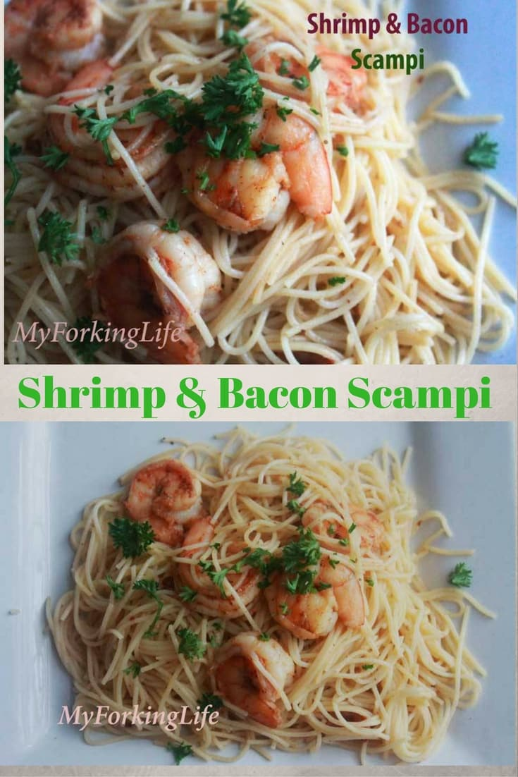 shrimp and bacon scampi on a plate pin