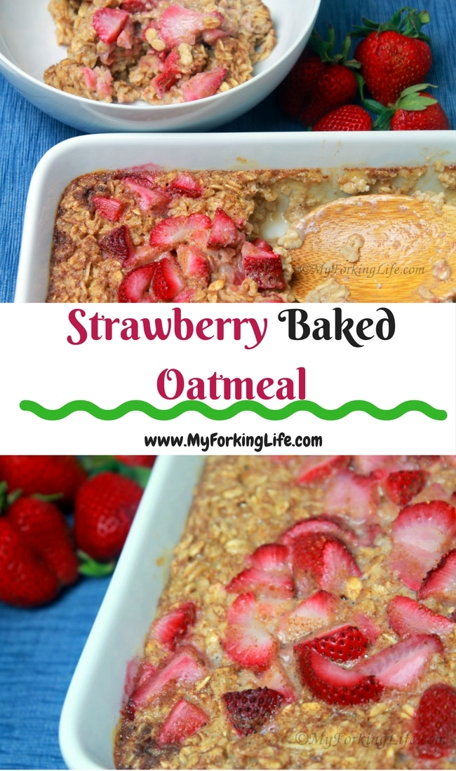 Strawberry and Cream Oatmeal is delicious and the perfect make ahead breakfast meal. Perfect for weekdays and weekends. Healthy, fuity, and creamy oatmeal is the perfect breakfast. #breakfast #strawberrybakedoatmeal