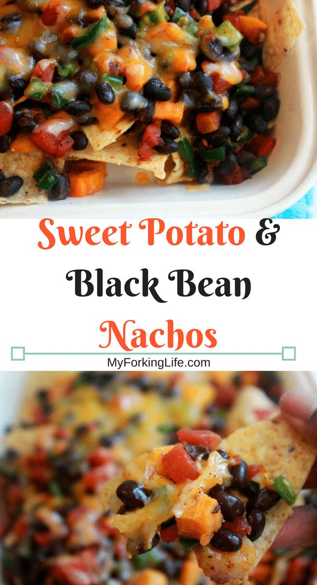 Sweet Potato & Black Bean Nachos. Perfect for dinner or appetizer. #meatlessmonday #cincodemayo #vegan #vegeterian