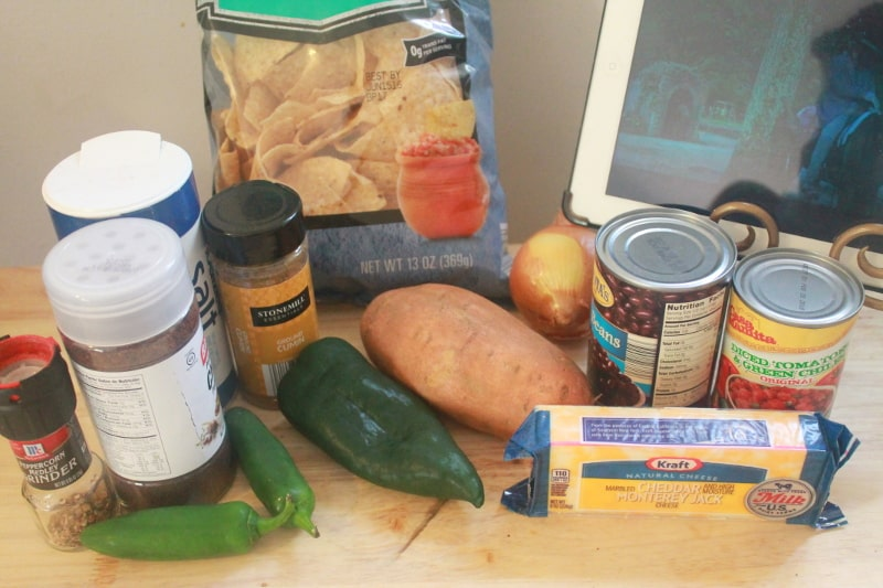 list of ingredients for sweet potato black bean nachos