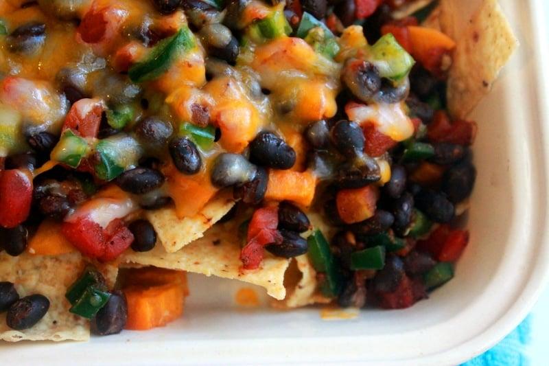 nachos sweet potato black beans close up shot