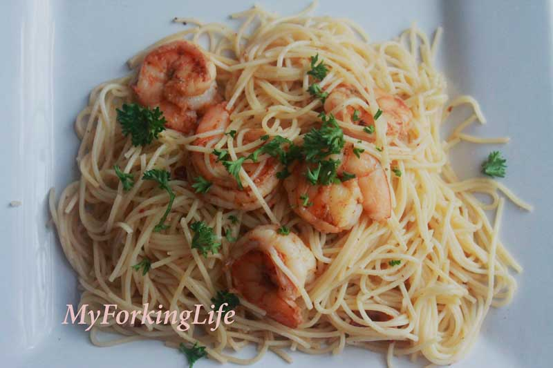 shrimp & bacon scampi on a plate