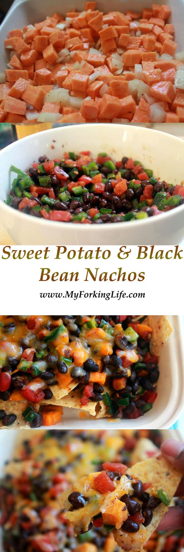 sweet potato & black bean nachos. # vegetarian. #meatlessmeals www.myforkinglife.com