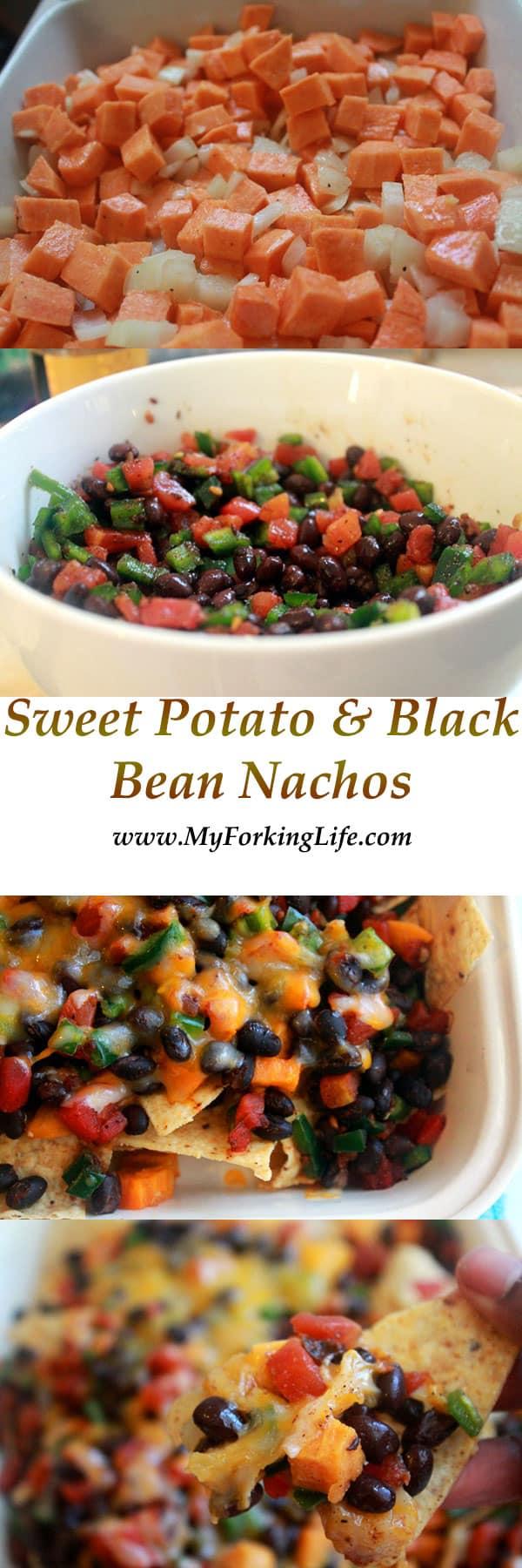 sweet potato & black bean nachos. # vegetarian. #meatlessmeals www.myforkinglife.com