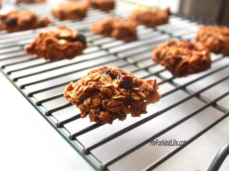 oatmeal raisin breakfast cookie on cookie sheet