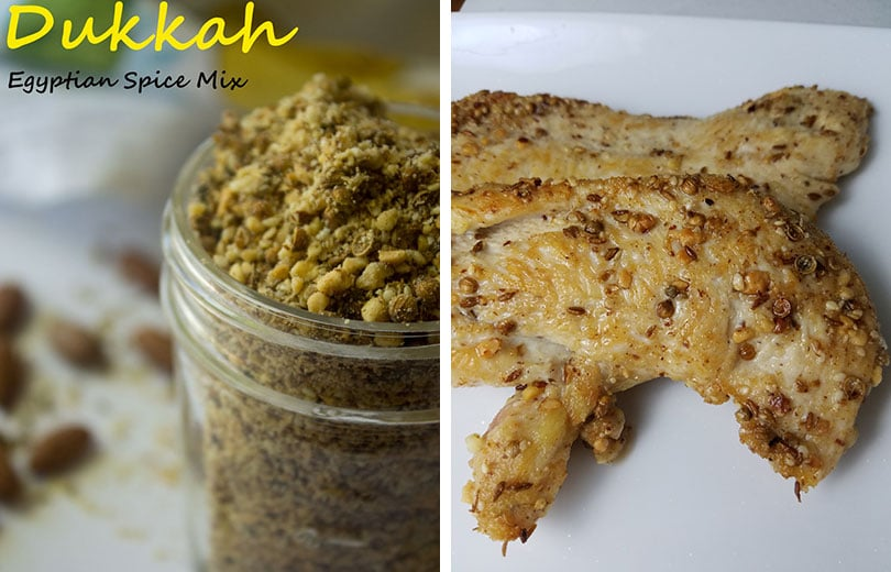 collage: dukkah in glass jar on left, dukkah on cooked chicken on right