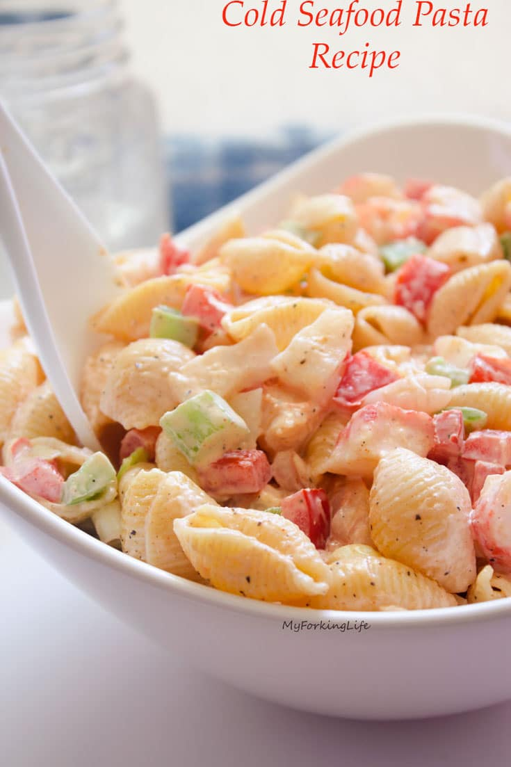 cold seafood pasta salad recipe with writing