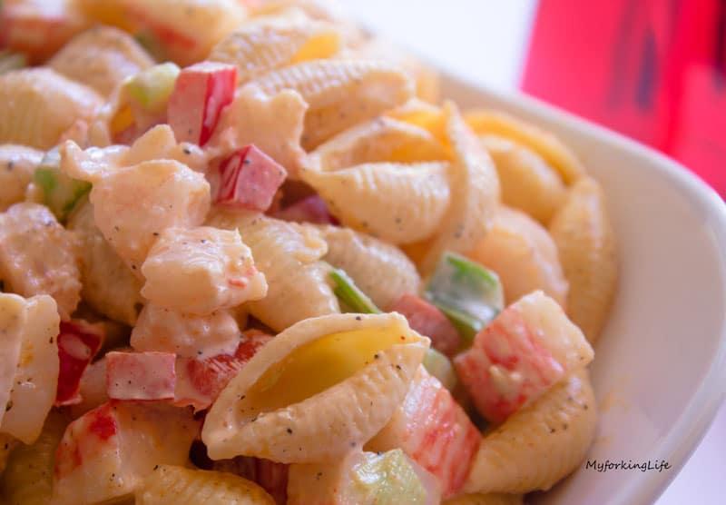 cold seafood salad close up