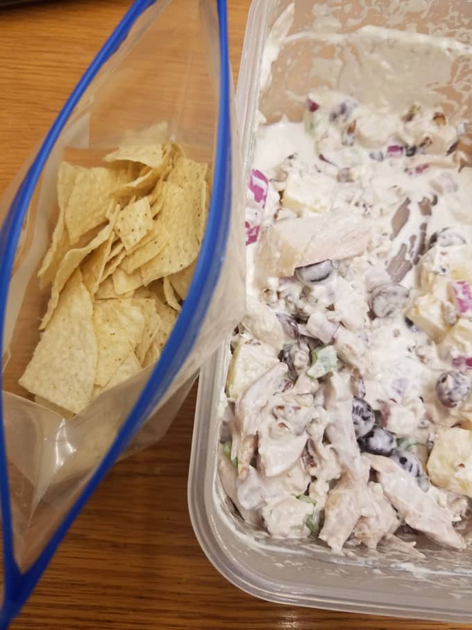 fruity chicken salad in a bowl with chips next to it