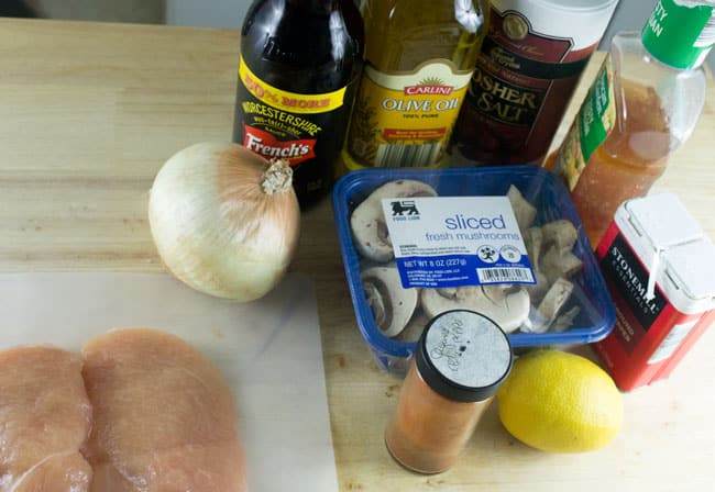 ingredients for mushroom chicken on table