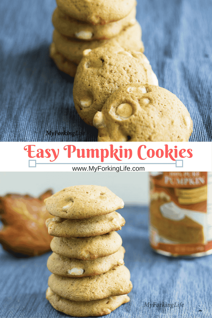 Easy Pumpkin Cookie recipes. Made with pumpkin and spice and all things nice. Added white chocolate because it's delicious.