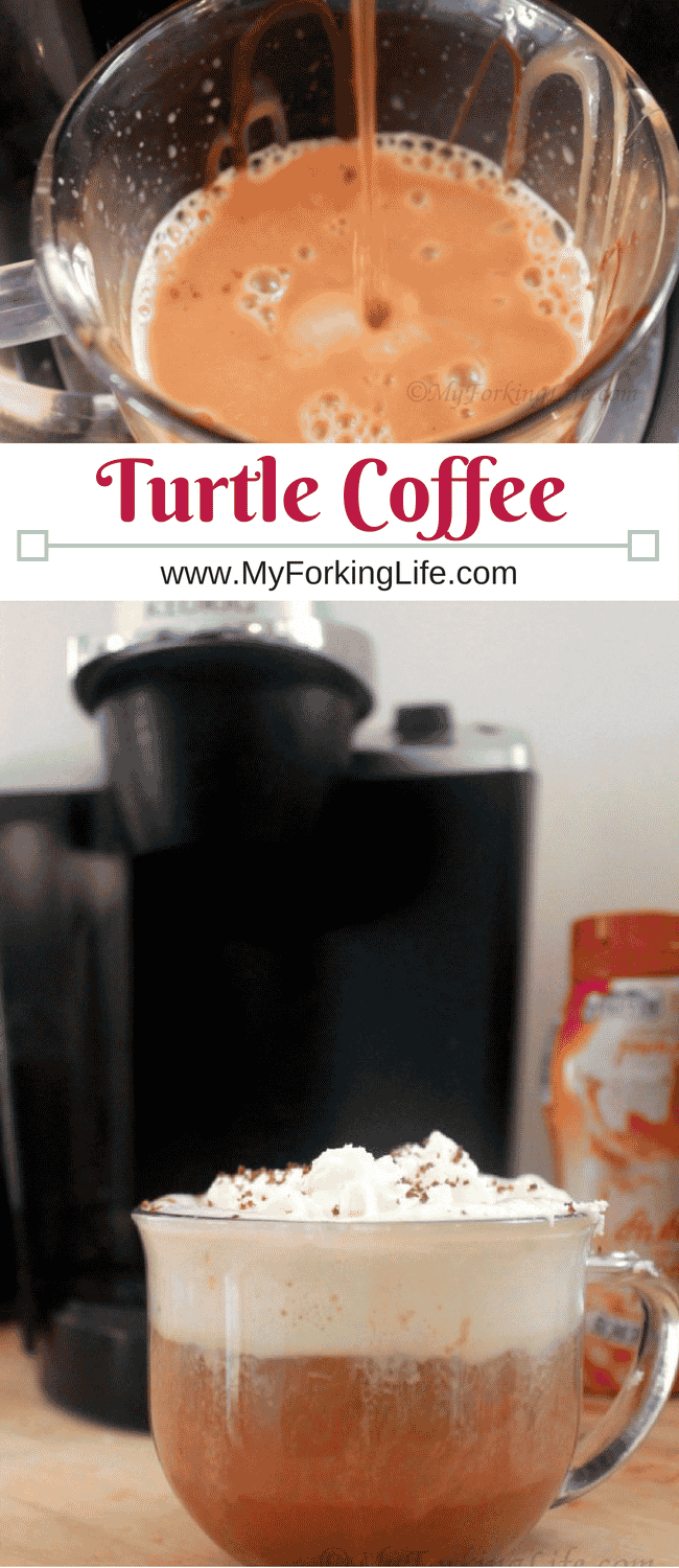 Drink this turtle coffee for breakfast or dessert. A nice almond, chocolate, and caramel twist on your coffee.