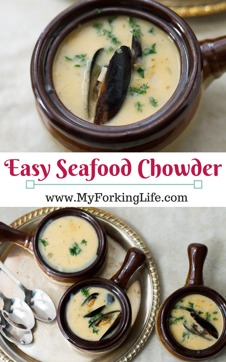 Easy Seafood Chowder Recipe. Perfect seafood soup recipe for the Winter. Shrimp, Mussels, & Crab.