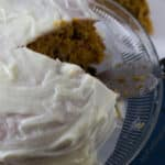 Simple Pumpkin Recipe. No mixer needed to make this cake. Lemon frosting.