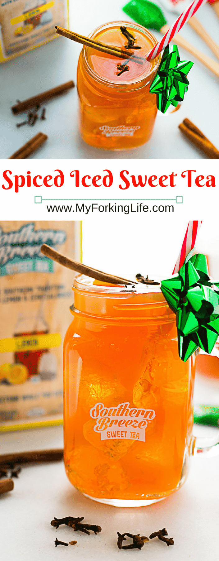 This Spiced Iced Sweet Tea is perfect for the Holidays. Lemon Flavored Sweet Tea, Cinnamon, and cloves make it a sweet and refreshing treat!