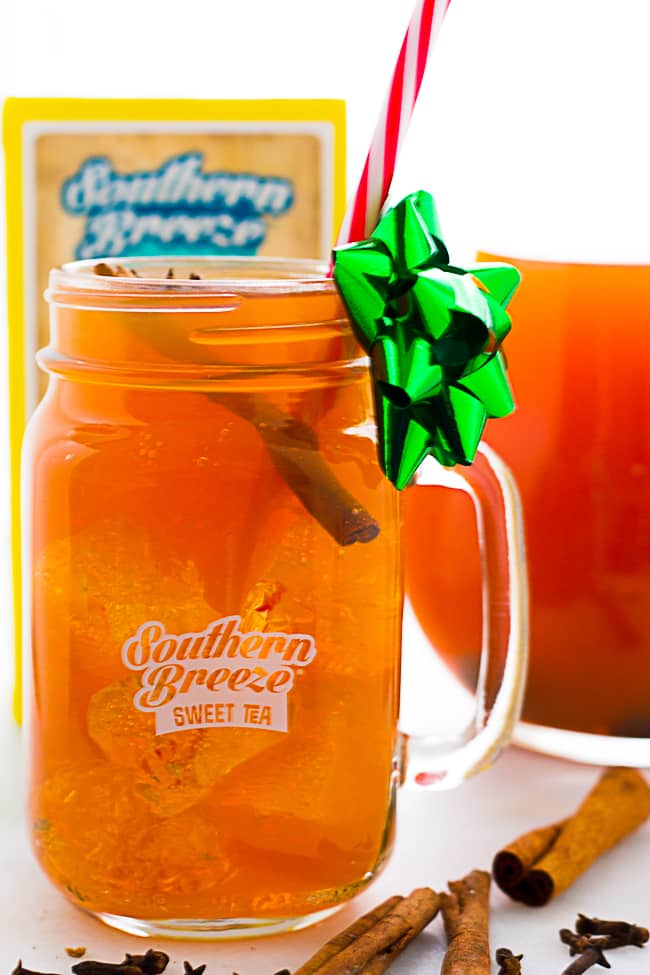 spiced iced sweet tea in glass with sticker