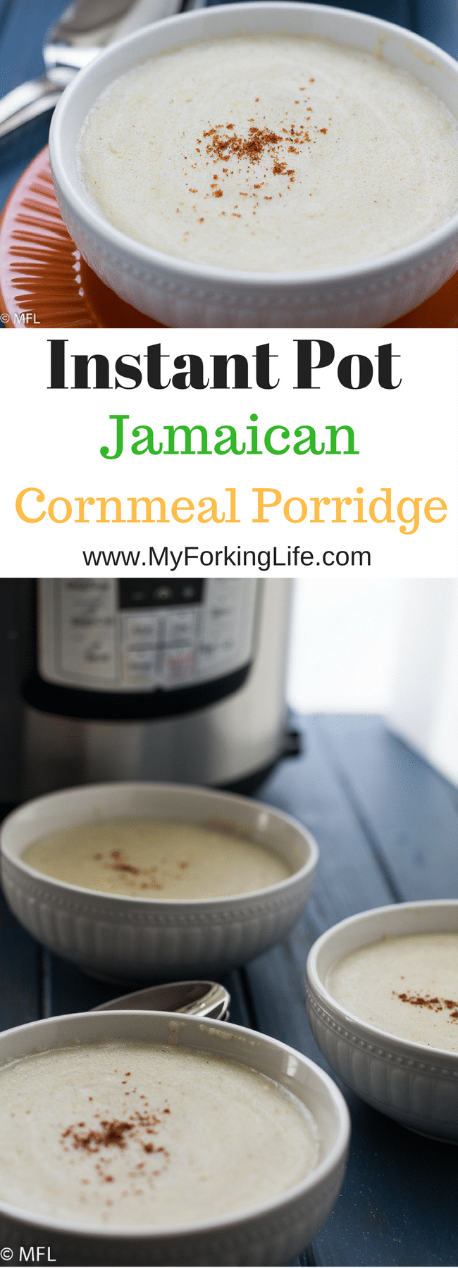 Insta pot Jamaican Cornmeal Porridge Recipe. Create this classic recipe in the instapot for a hands free breakfast. Quick, easy, delicious.