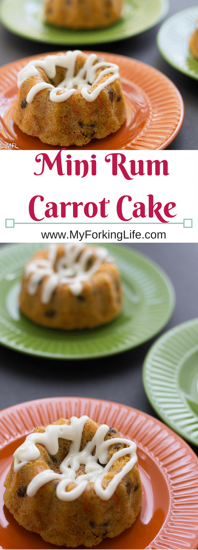 Cute Mini Rum Carrot Cake Recipe. Perfect for gift giving. Perfect mini boozy dessert for Valentine's Day/