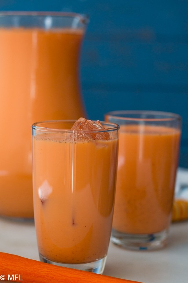 jamaican style carrot juice recipe in a glass