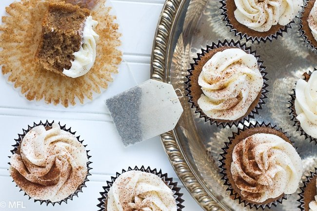 Chai Tea Cupcakes are a delicious treat. Made with chai black tea and delicious spices with butter cream frosting