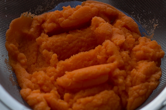 mashed carrots after straining. This Jamaican Style Carrot Juice Recipe is authentic and delicious! Perfect recipe for a hot summer day. #jamaicanrecipe #carrotjuice #condensed milk #juicerecipes