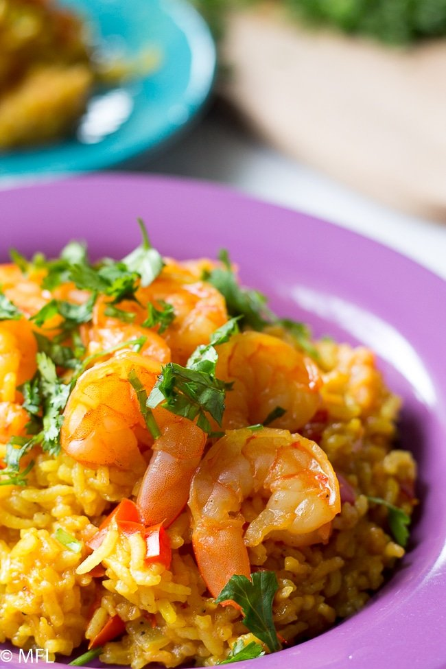pressure cooker shrimp paella on a plate