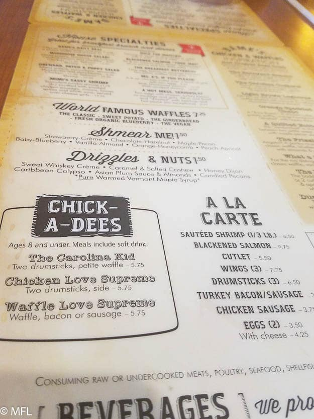 dame's chicken and waffles cary menu