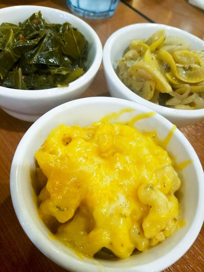 collard greens, fried yellow squash, and macaroni and cheese all in small plates