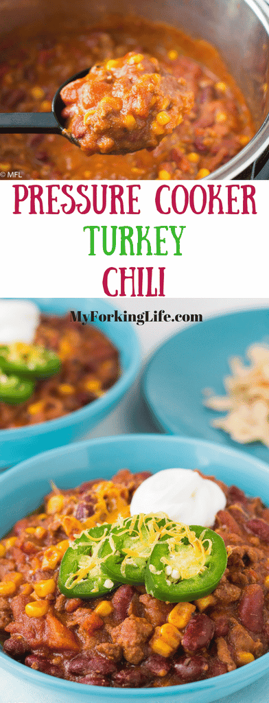 pressure cooker turkey chili. Make this recipe in your Instant Pot or any other pressure cooker for a quick meal. Tasty and healthy
