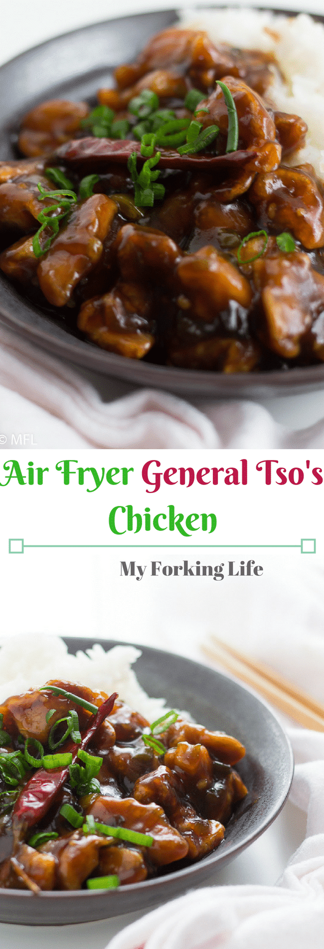 This healthy general tso's chicken recipe is made in the air fryer for a healthier take on the dish. Have dinner ready in 30 minutes or less. #weeknightdinner #asiandinner #healthydinner #healthy #airfryerrecipes #airfryer #airfryerchicken #quickdinner #dinnerforbusypeople healthy general tso chicken recipe.