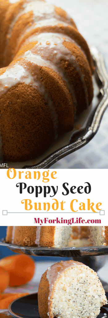 Orange Poppy Seed Bundt Cake is a delicous citrus cake with the right amount of poppy seed crunch. #cake #spring #bakedgoods #recipes #bakedgoodrecipes