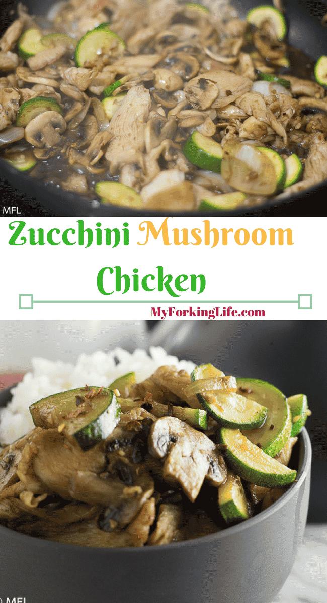 Zucchini Mushroom Chicken Recipe with tender chicken pieces in a delicious sauce. A restaurant favorite. #Chineserecipe #chickenrecipe #dinnerrecipe #copycatrecipes #pandaexpresscopycat #zucchini #mushroom
