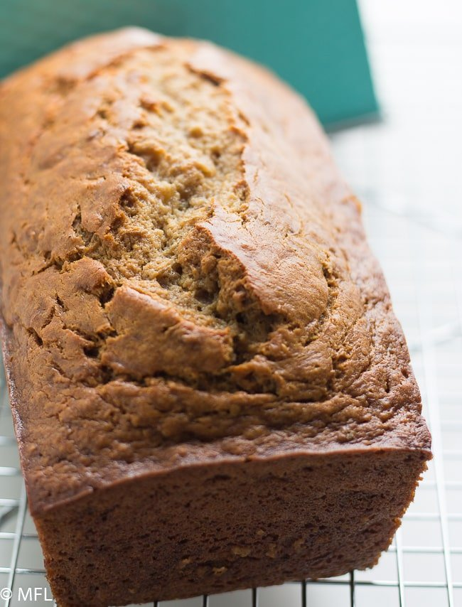 The best banana bread recipe in the world bread on a grate.