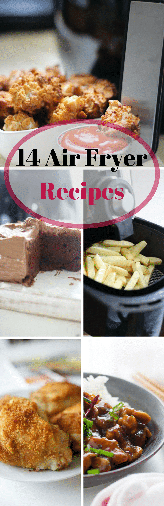 photo of air fryer recipes and text that says 14 air fryer recipes