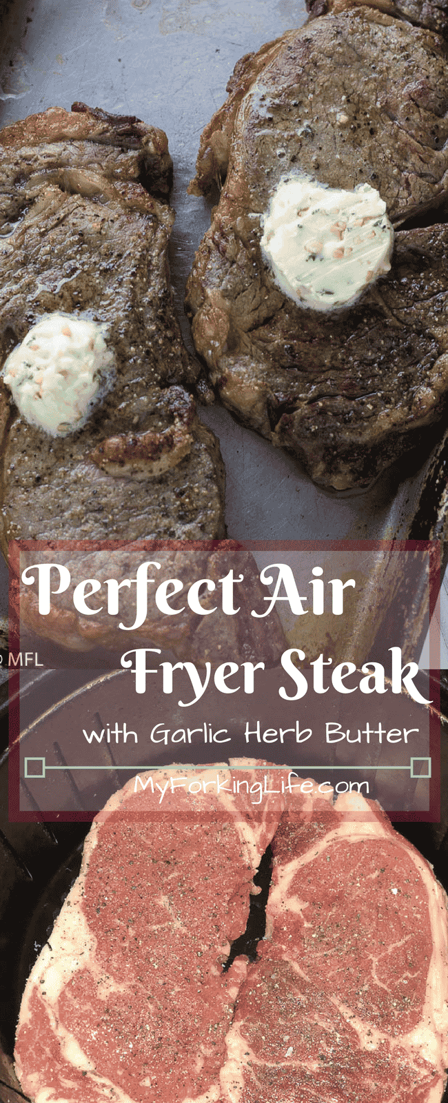 Perfect Air Fryer Steak with Garlic Herb Butter. Create the perfect steak in your air fryer. Tried and true method of creating juicy and delicious steak. #airfryerrecipes #airfryer #airfryersteak #ribeye #ribeyesteak #flavouredbutter #garlicherbbutter #delicioussteak @airfryerrecipe