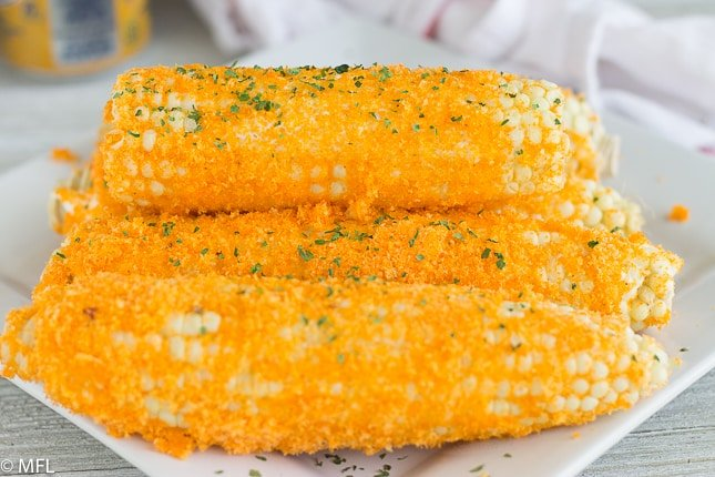 cheddar corn stacked on top of each other