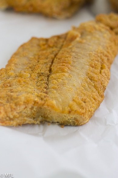 air fried fish fillet on white paper