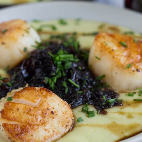 Pan Seared Scallops Recipe. Served with a purple carrot chutney. #sponsored #recipe #souldfoodsessions