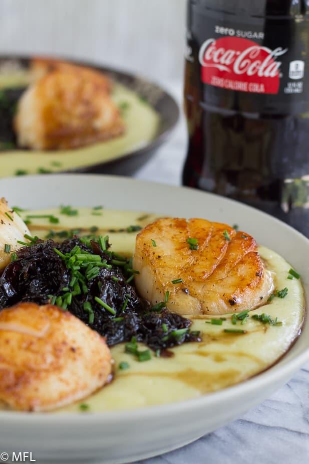 scallops with chutney over potato leek