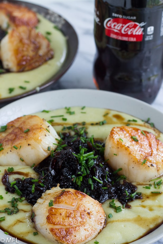 scallops with chutney with soda bottle in back