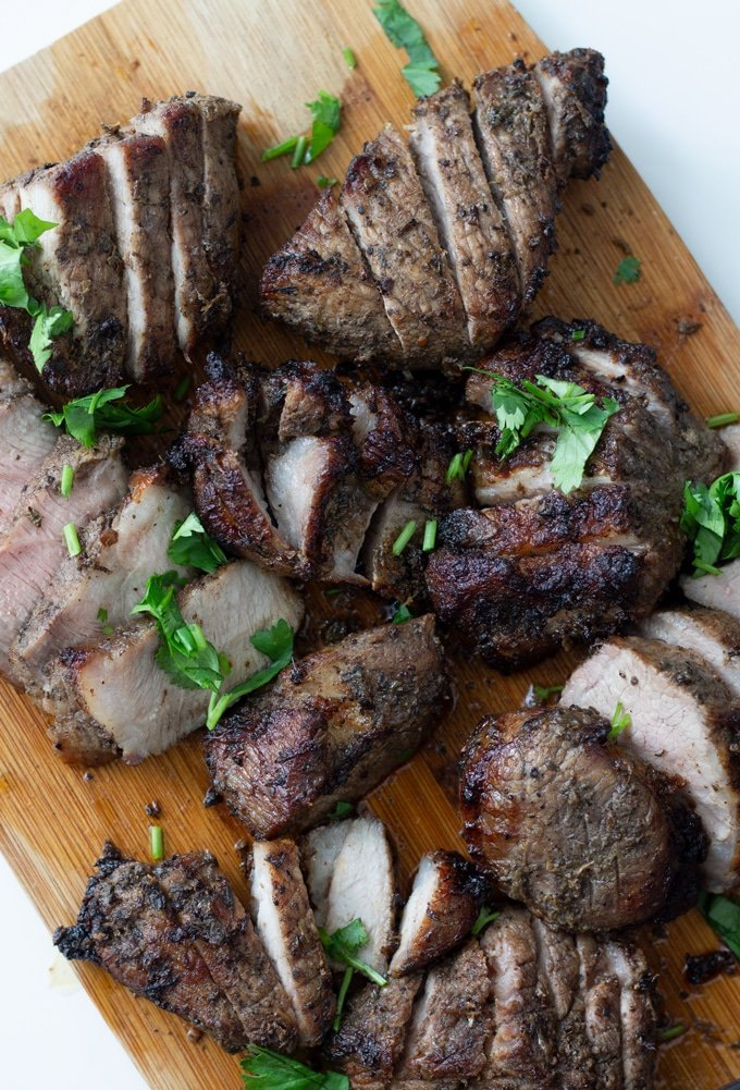 air fryer jamaican jerk pork recipe on a cutting board