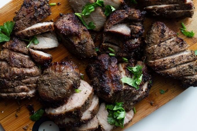 air fryer jamaican jerk pork recipe on a cutting board