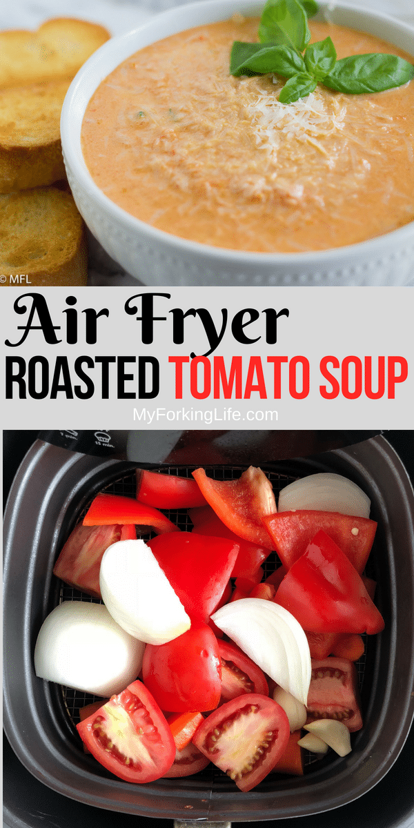 pinterest image for the best tomato basil soup recipe
