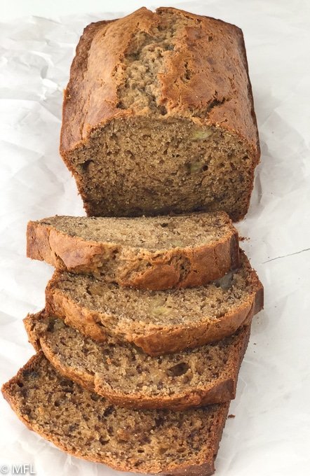best banana bread recipe in the world sliced from above