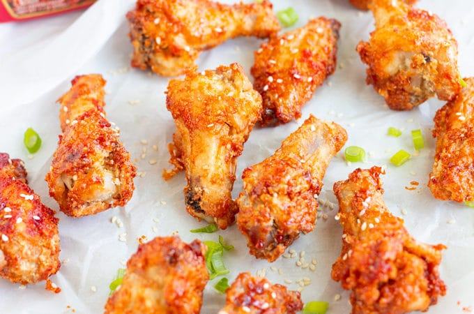 air fried chicken wing with green onion