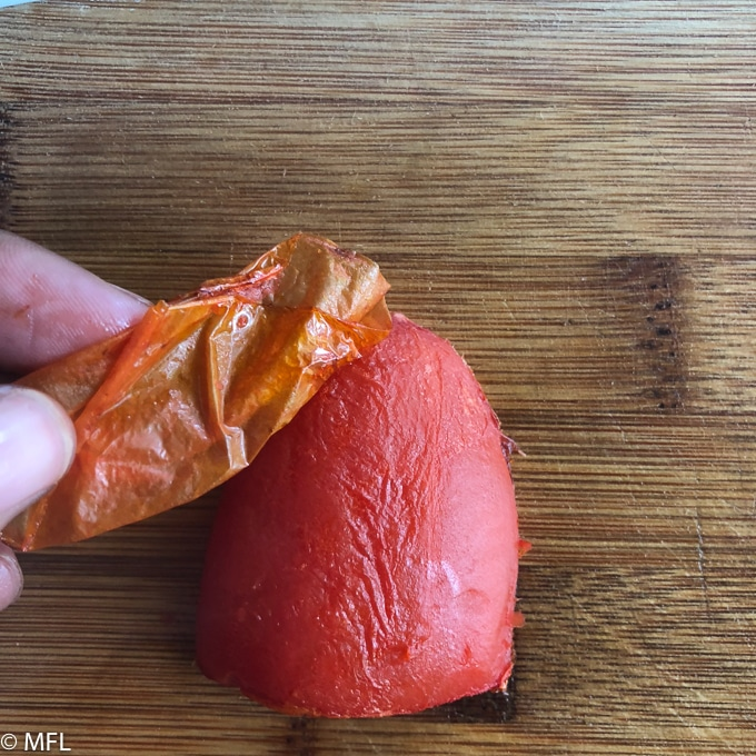 peeling tomatoes for soup